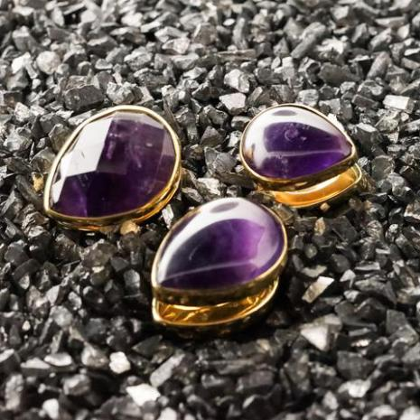 Solid Brass Stones spades with faceted Amethyst 16mm
