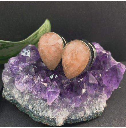 Solid Brass Stones spades with faceted Rosé quartz 16mm