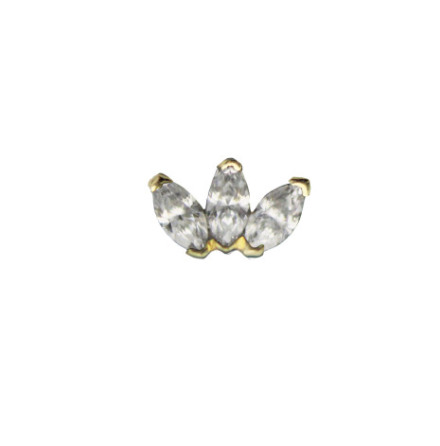 14K Marquise fan White Diamond VS (3),3x1.5mm in push fitt 25g yellow gold