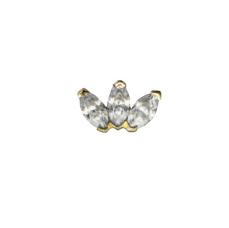 14K Marquise fan White Diamond VS (3),3x1.5mm in push fitt 25g yellow gold